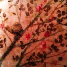 bird in a tree encaustic