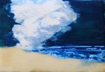 Cloud on the beach encaustic