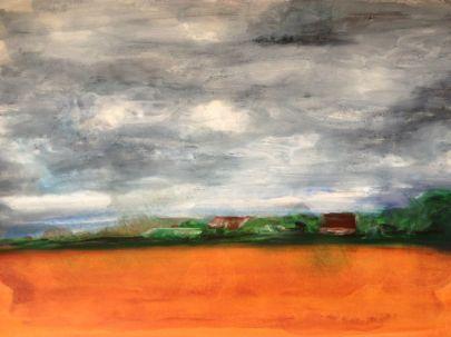 france landscape encaustic