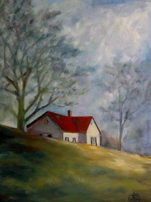 house on a hill plein air