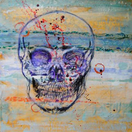 skull encaustic