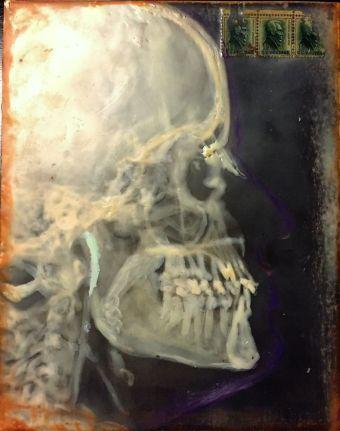skull profile encaustic